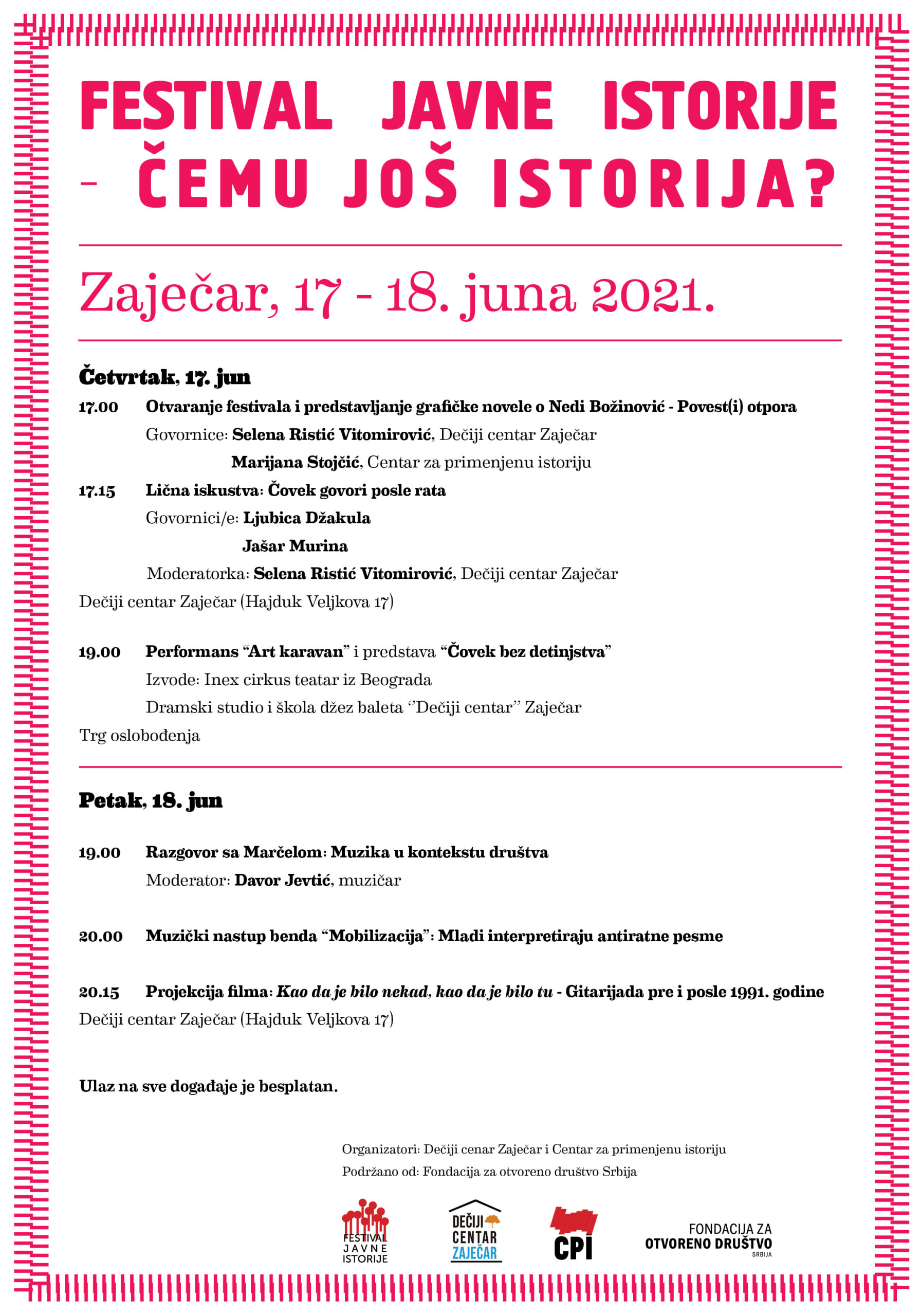 Prvi festival javne istorije u Srbiji,  u Zaječaru 17. i 18. juna